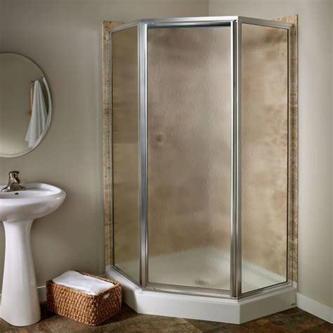Angled Glass Shower Doors American Standard Prestige 24 25 In X 68 5 In Neo Angle Shower Door In Silver And Clear Glass