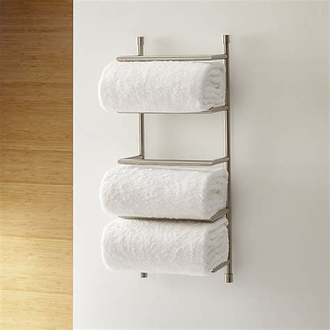Towel Wall Rack brushed steel wall mount towel rack crate and barrel