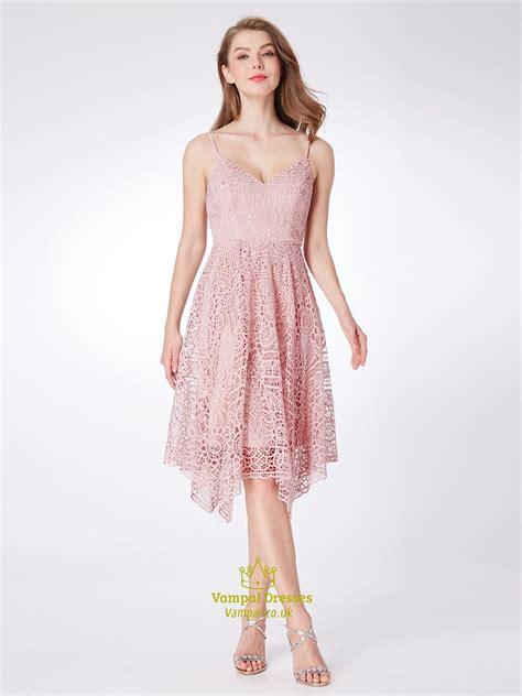 V Neck Spaghetti Lace Dress pink spaghetti v neck sleeveless lace