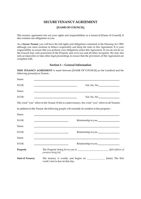 Printable Rental Agreement Uk | best photos of landlord tenant agreement form landlord