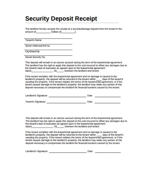 rental deposit receipt template sle security deposit receipt 8 free documents