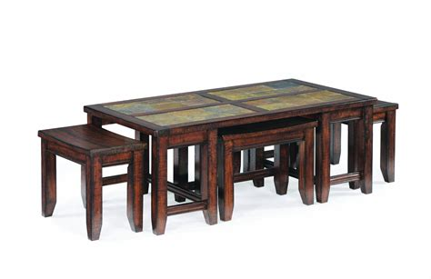 Coffee Table With Stools Underneath Rustic Rectangle Coffee Table With Ottoman Stools Underneath Decofurnish