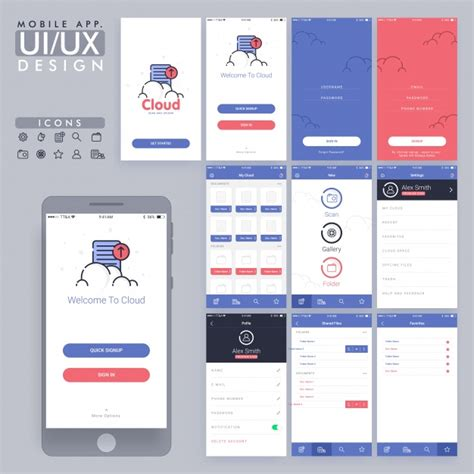 home design decor app review blue and red mobile app design vector premium download