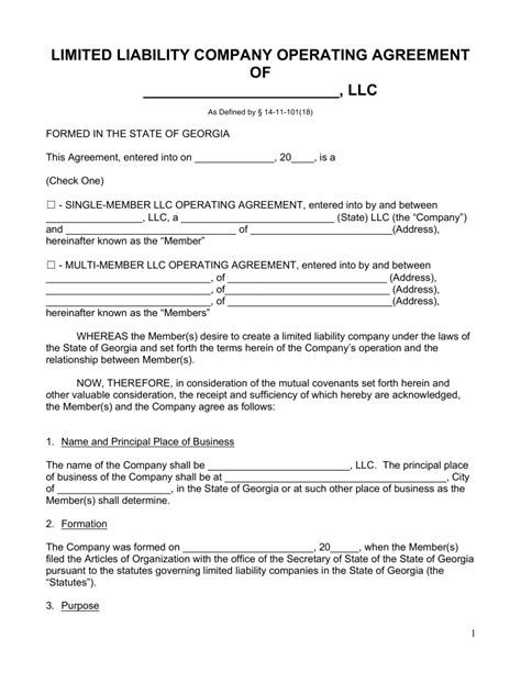 free georgia llc operating agreement forms word pdf