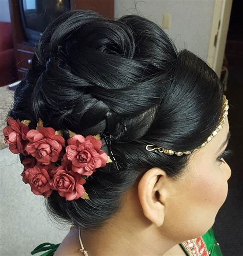 indian updo hairstyles videos indian wedding bun hairstyles with flowers hairstyles