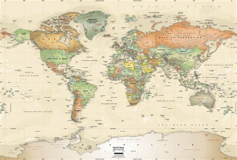 Classic World Map Wallpaper Wall - vintage map wallpapers wallpaper cave