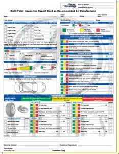 ford multi point inspection report card