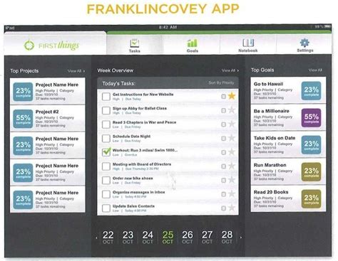 Franklin Covey Ipad App Coming In September Ipad Insight Franklin Covey Project Management Template