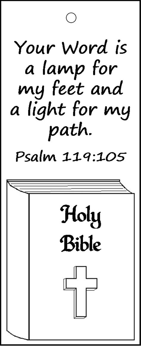 printable version of psalm 119 psalm 119 105 bookmark for kids to color religion
