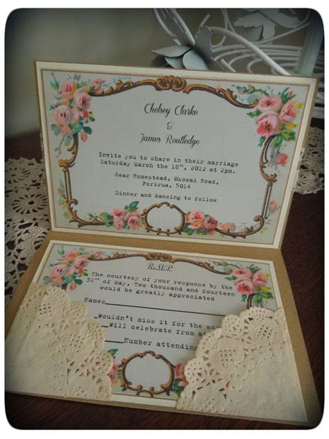 vintage kraft shabby chic wedding invitations by