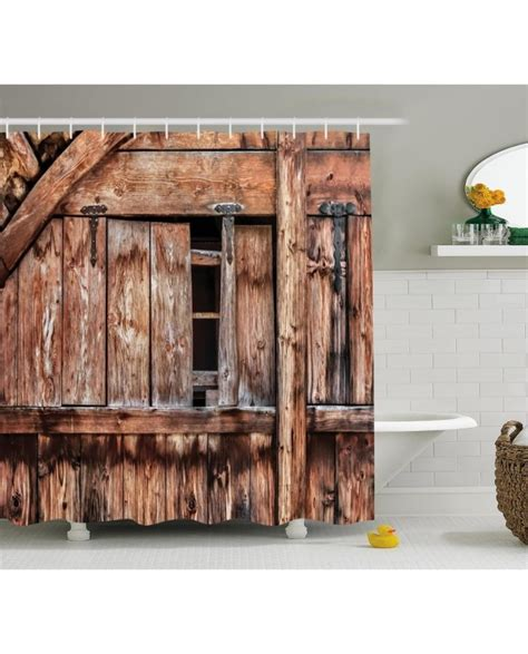 Rustic Shower Curtain Oak Abandoned Barn Door Print For Rustic Bathroom Shower Curtains