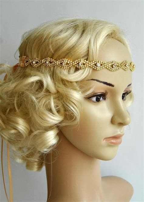 Wedding Headpiece White And Gold gold rhinestone headband great gatsby headband headband wedding bridal ribbon