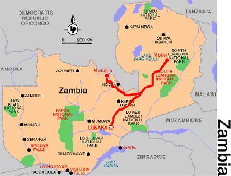 zambia map tourist attractions toursmapscom