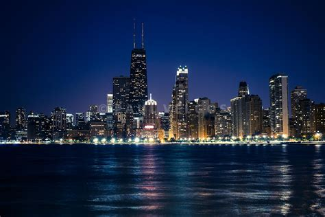 Of Chicago Search Image Downtown City Of Chicago At Large Canvas Print Buy Stock Photo Metal
