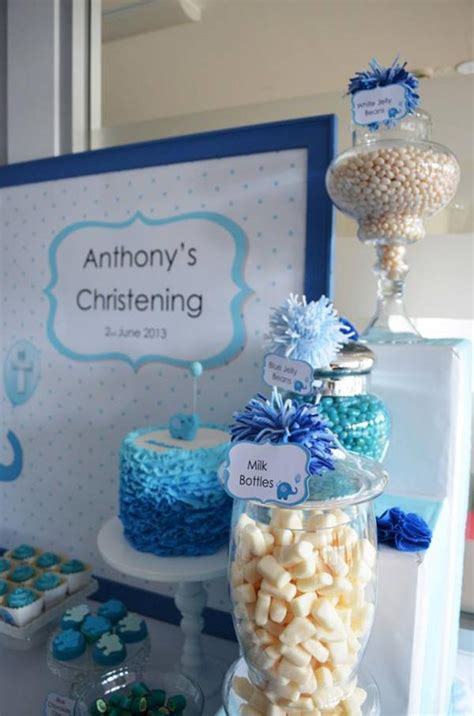 blue elephant boy christening baptism party planning ideas