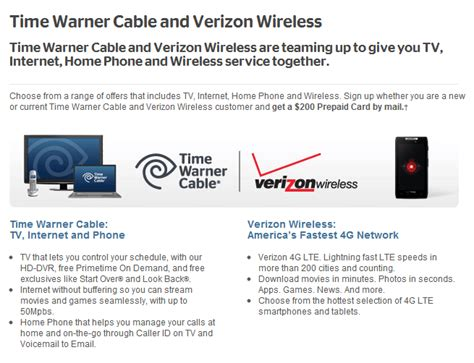 Time Warner 200 Gift Card Offer - verizonwarner cable collaboration launched 200 rebate for cable wireless phone 183