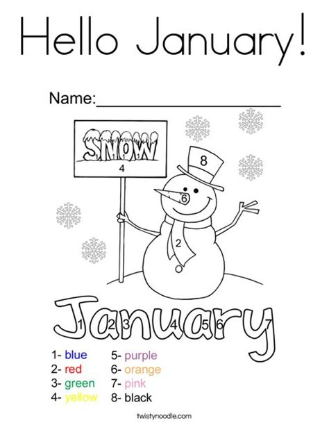 coloring pages for january month hello january coloring page twisty noodle