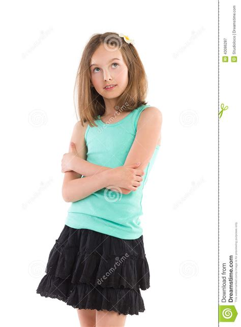 young girl skirt pensive girl with arms crossed stock image image of