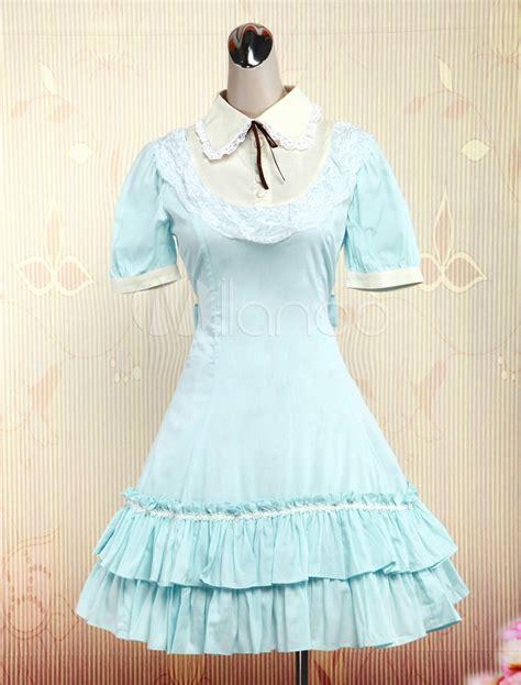 Dress Cotton Sweet Blue D203c3 light blue sleeves cotton sweet dress milanoo
