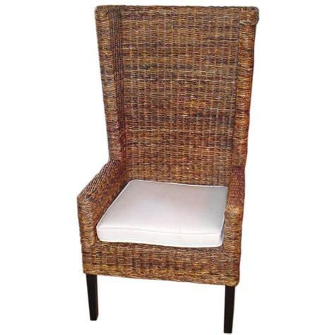 Banana Leaf Armchair by High Backed Woven Banana Leaf Bermuda Chair With Cushion