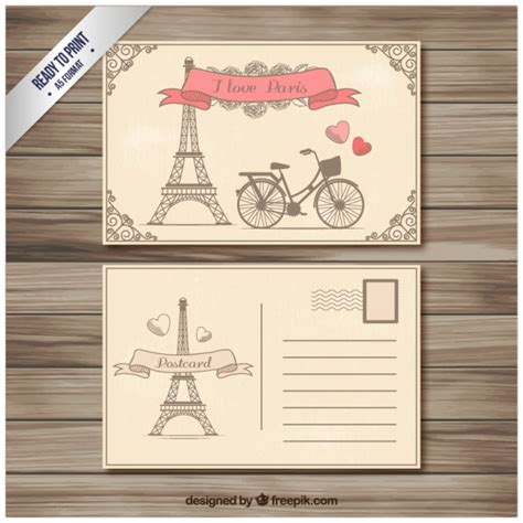 Retro Paris Postcard Vector Free Download Retro Postcard Template