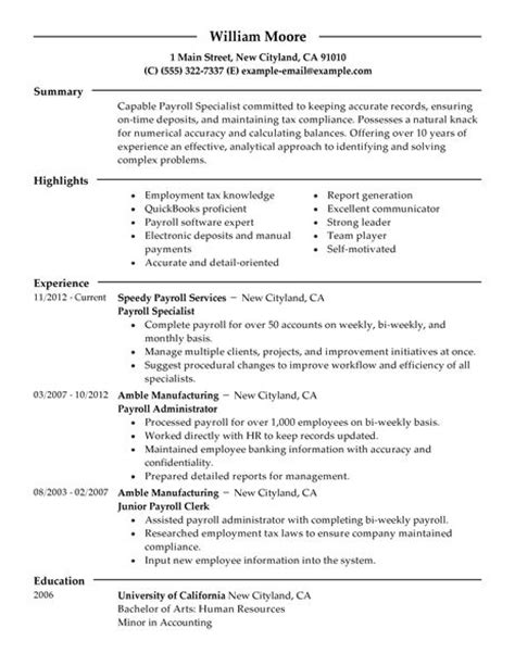 Resume Samples Bookkeeper Position by Best Payroll Specialist Resume Example Livecareer