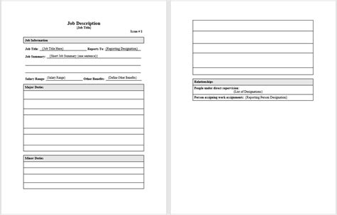 Job Description Templates 4 Free Templates Word Templates Description Template Free Word