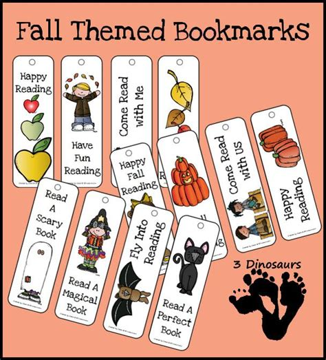 printable bookmarks fall free fall themed bookmarks bookmarks halloween themes