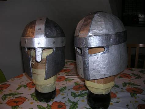 How To Make A Helmet Out Of Paper Mache - paper mache helmets and swords crafts