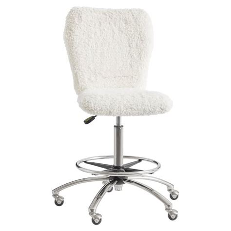 desk chair with fur ivory sherpa faux fur airgo arm armless chair pbteen