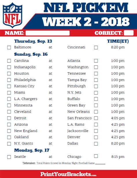 printable schedule of nfl games printable nfl week 2 schedule pick em pool 2018