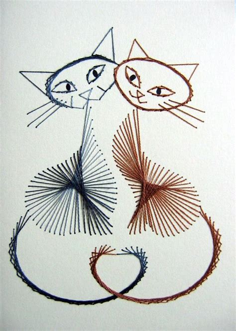 playful cats set of 3 stitched greetings cards no