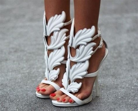 wing high heels shoes white high heels giuseppe zanotti wings