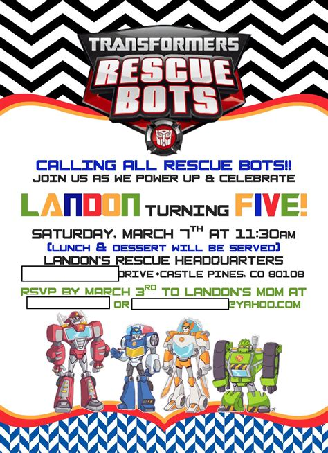printable rescue bots birthday invitations landon s rescue bots 5th birthday project nursery