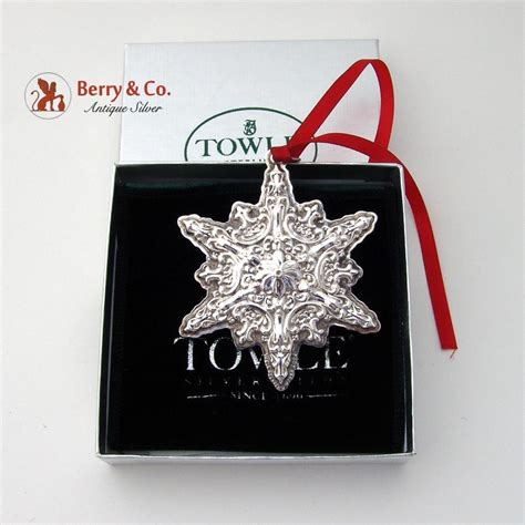 christmas ornament snowflake sterling silver towle 2002