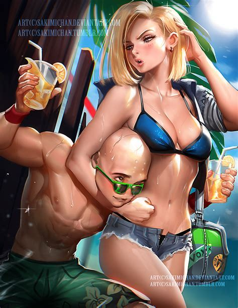 Krillin And Android By Sakimichan Dbz