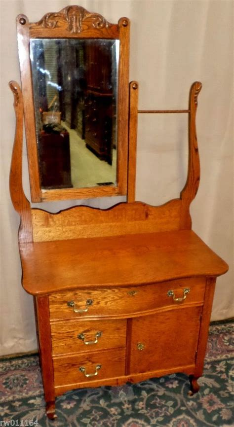 antique dresser with mirror and towel bar antique rustic oak serpentine hotel washstand chest