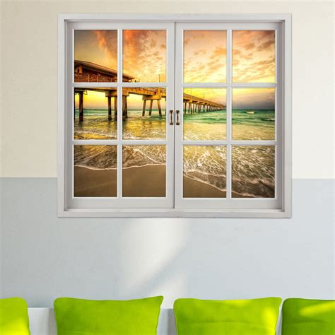 decorative window decals for home sea bridge 3d artificial window view 3d wall decals room