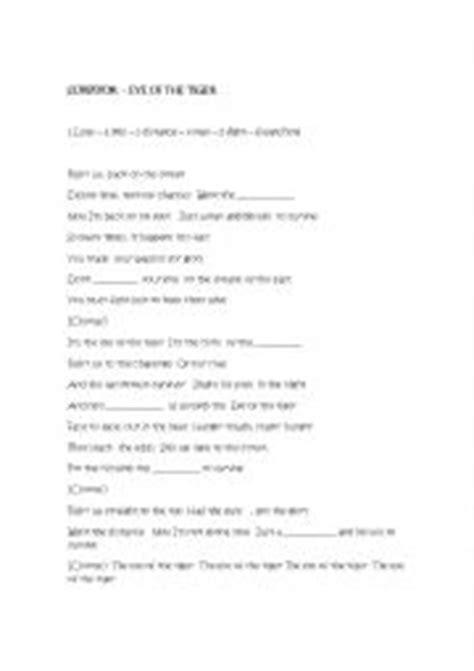 printable lyrics eye of the tiger english worksheets using songs worksheets page 452