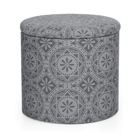 round fabric storage ottoman decenthome decenthome 2 piece fabric round storage ottoman dark grey print ft0070 aft70