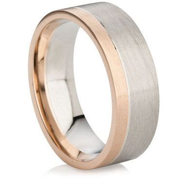 Two Metal Wedding Rings by Platinum And Gold Matt Finish Two Metal Wedding Ring