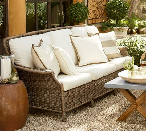 pottery barn furniture all weather sofa sofa trendy all weather rattan garden
