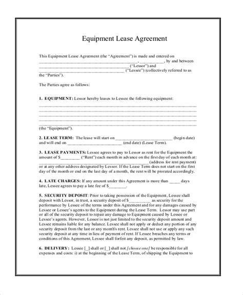 computer lease agreement template computer lease agreement template equipment lease