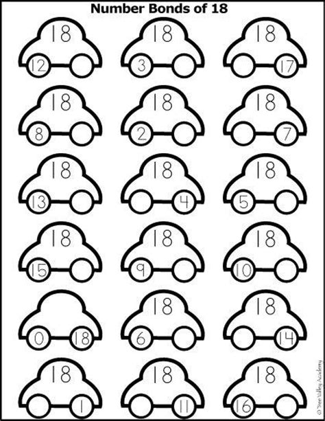 coloring page number 18 free math printable number bonds of 18 colouring