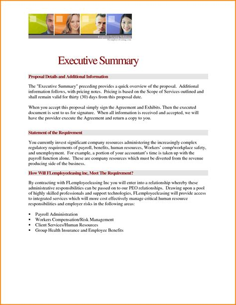 cover letter business report format executive summary