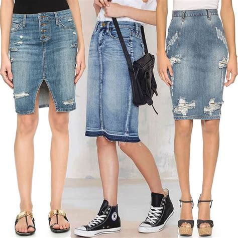 style how to wear the denim skirt trend