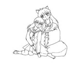 inuyasha coloring pages inuyasha and kagome coloring pages characters