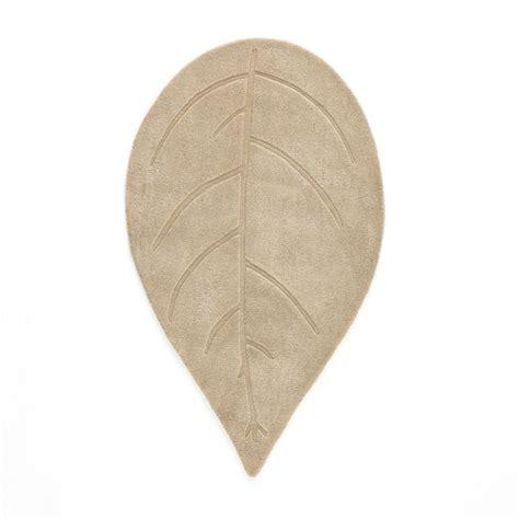 Leaf Shaped Rug by Foglia Leaf Shaped Wool Rug Taupe La Redoute Interieurs