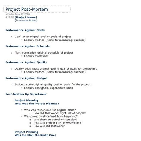 Incident Post Mortem Template by Business Post Mortem Template The Best Templates Collection