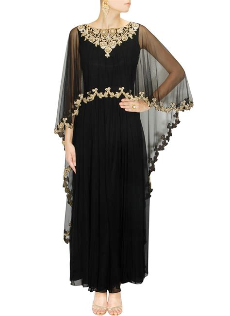 Making Of Home Decorative Items Buy Black Georgette Poncho Style Anarkali Gown Dresses
